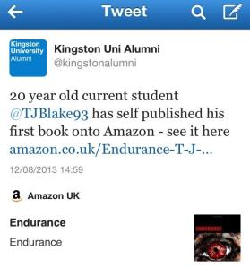 Kingston Uni Alumni tweet about me and Endurance