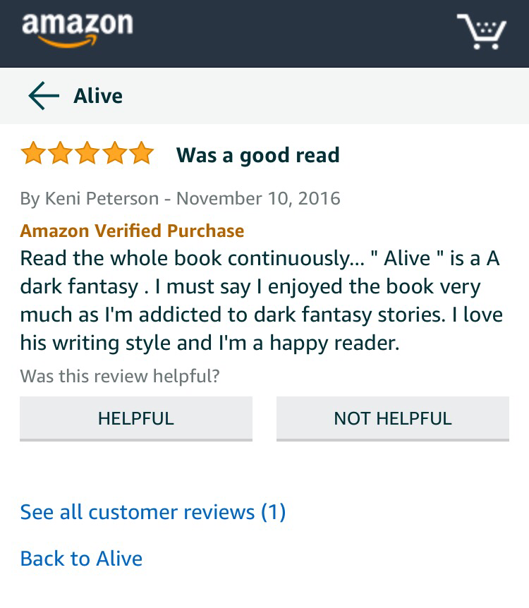 5 star book review Alive T. J. Blake