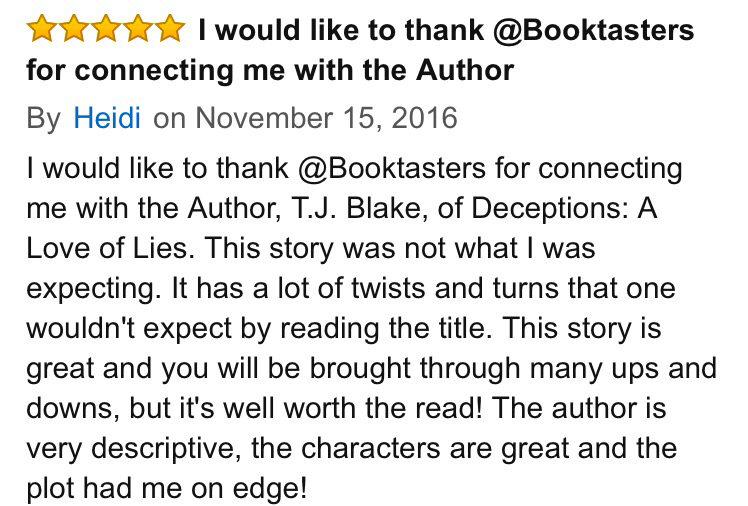 5 star review for Deception on Amazon