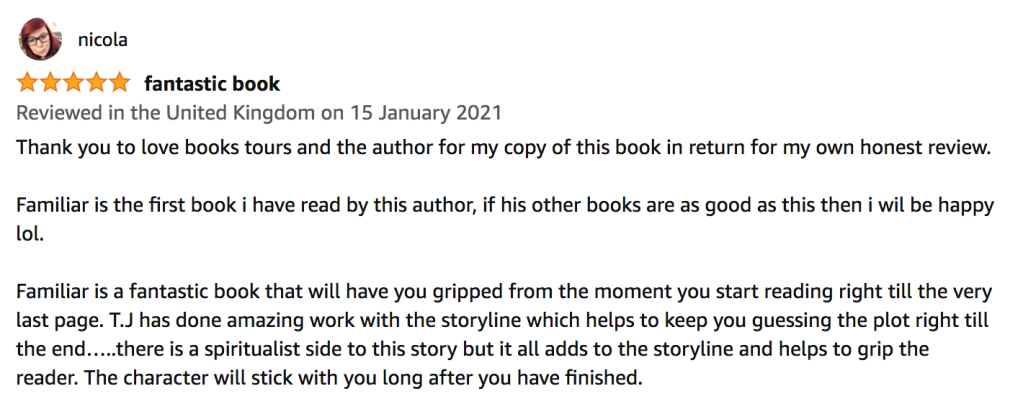 5 star book review on Amazon UK for Familiar by T. J. Blake